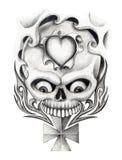 Skull heart cross art tattoo. Stock Photo