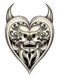Skull heart devil tattoo. Royalty Free Stock Photos