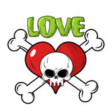 Skull and heart. Love to death is an emblem for feast of St.. Valentine. Crossbones and skeletons head. Red heart symbol of love Royalty Free Stock Photography