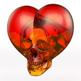 Skull heart, red orange Royalty Free Stock Photo