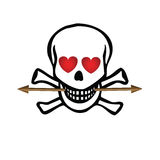 Skull with hearts and arrow Royalty Free Stock Photos