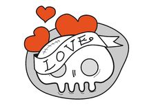 Skull with hearts and banner Stock Images