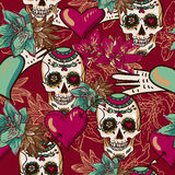 Skull, Hearts and Flowers Seamless Background. This is file of EPS10 format royalty free illustration