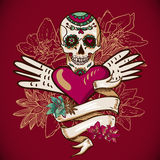 Skull, Hearts and Flowers Vector Illustration stock illustration