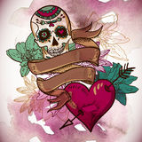 Skull, Hearts and Flowers Vector Illustration Stock Image