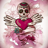 Skull, Hearts and Flowers Vector Illustration Royalty Free Stock Photography