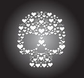 Skull  hearts icon Stock Photo