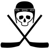 Skull in helmet and crossed hockey sticks. Black and white icon. White background. Isolated objects. Vector Image. Stock Photography