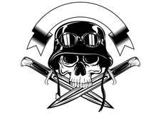 Skull in helmet and crossed knives Stock Photo