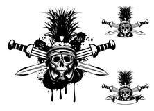 Skull in helmet  and crossed sword. Vector image skull in helmet  and crossed sword Stock Images
