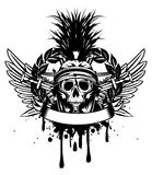Skull in helmet  and crossed sword Stock Photos