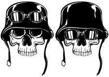 Skull in helmet with goggles Stock Photography