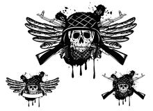 Skull in helmet and grenade. Vector image of  skull in an army helmet with  automatic machine and grenade Stock Images