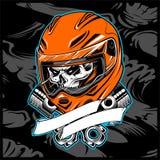 Skull helmet hand drawing vector stock illustration