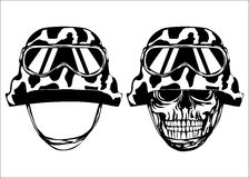 Skull in helmet and helmet Royalty Free Stock Photos