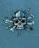 Skull in helmet with horns and bones. Terrible skull in helmet with horns and bones on background - EPS10 vector illustration Stock Photos