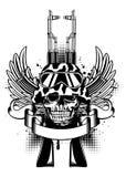 Skull in helmet and two Kalashnikov guns Stock Photography