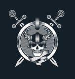Skull in helmet Stock Photos