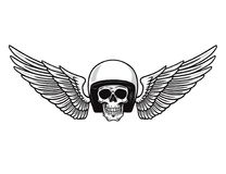Skull Helmet Wings. Vintage Motorcycle Monochrome Design for T-shirt Graphics. Biker and Motorcycle Emblem. Vector Illustration. Retro Stock Images