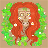 Skull hippie smiling. Hippie Skull with red hair in the green leaves on the bandana peace sign Royalty Free Stock Photography