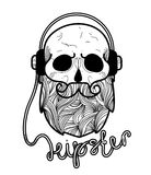 Skull hipster Hand Drawn. With headphones.Skull with Hipster hair and beards, fashion vector illustration.Retro vector design graphic element, badge, emblem Royalty Free Stock Photo