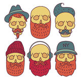 Skull hipster Hand Drawn. Isolated on white background.Skull with Hipster hair,cap,headphones,mustache and beards,fashion color vector illustration Set.Retro Royalty Free Stock Image