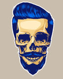 Skull Hipster. Hand drawn skull Hipster style, gently Haircuts Stock Photography