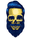 Skull Hipster. Hand drawn skull Hipster style, gently Haircuts Stock Photo