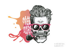 Skull. Hipster silhouette with mustache glasses and tobacco pipe on a colorful splash background. Vector illustration in modern en Royalty Free Stock Photo