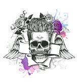 Skull. Hipster skull silhouette with mustache and tobacco pipe with ribbon, wings, and bouquet of roses on a splash background. Ve Royalty Free Stock Photography