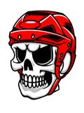 Skull in hockey helmet. For sport team mascot design Stock Photos