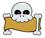 Skull holding blank paper Royalty Free Stock Image