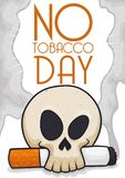 Skull with Cigarette Promoting Not Smoke During No Tobacco Day, Vector Illustration. Skull holding a lighted cigarette symbolizing the awareness for mortal Royalty Free Stock Photos