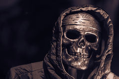 Skull and hood in halloween royalty free stock image