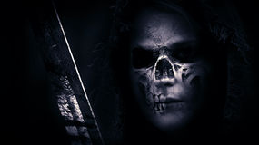 Skull, Hood, Sword, Face, Skeleton Stock Photography