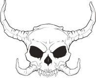 Skull_001_2 Horned Fotografia de Stock