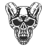 Skull, horned demon. Vector. Skull horned demon. Biker community emblem, Vector Stock Photos