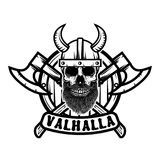 Skull in horned viking helmet. Design element for poster, emblem, t shirt. Vector illustration Stock Photo