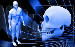 Skull and human body Stock Images
