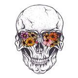 Skull of human with  flowers on eyeglasses. Vector illustration.Hand drawn style Royalty Free Stock Photo