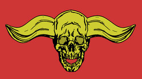 Skull of a human with horns. Vector illustration. Royalty Free Stock Images