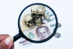 Skull human and money in magnifying glass Stock Photography