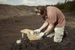 Human skeleton - skull - found and packed by archaeologist on location royalty free stock photos