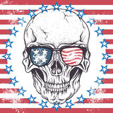 Skull of human with sunglasses. On the abstract USA flag.Vector illustration Stock Image