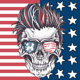 Skull of human with sunglasses. On the abstract USA flag.Vector illustration Royalty Free Stock Images