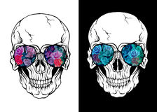Skull of human with sunglasses Stock Image