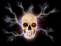 The Skull I. Head with lightnings stock illustration