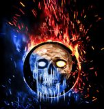 Skull on ice and fire. Digital illustration art. Digital illustration art. Skull on ice and fire Stock Photo