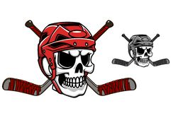 Skull in ice hockey helmet. With crossed sticks Royalty Free Stock Images