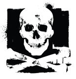 Skull icon. Vector white skull icon on black background Royalty Free Stock Images